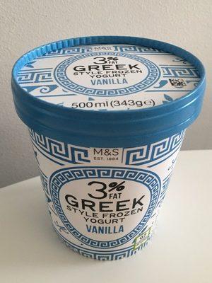 3% Greek Style Frozen Yogurt Vanilla