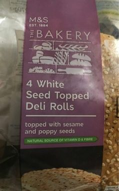 4 White Seed Topped Deli Rolls