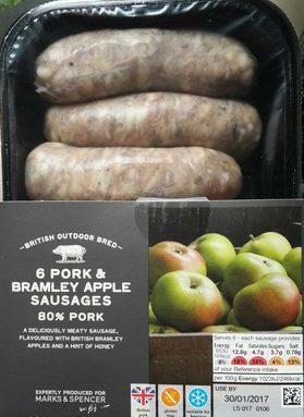 6 Pork & Bramley Apple Sausages