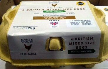 6 free range British mixed size eggs Omega 3 enriched