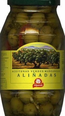 "Aceitunas verdes enteras aliñadas ""Alipende"" Variedad Manzanilla"