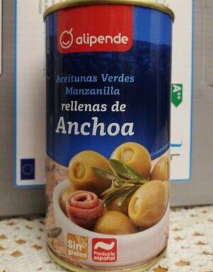 Aceitunas verdes manzanilla rellenas de anchoa