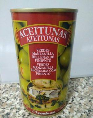 Aceitunas verdes rellenas de pimiento
