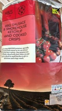 BBQ sausage & smokehouse ketchup hand cooked crisps