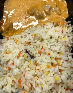 Chicken Satay with vegetable rice
