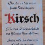 Chocolat au lait Suisse fourré Kirsch liquide