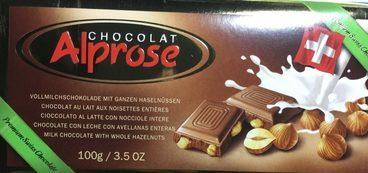 Chocolat au lait aux noisettes entières