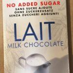 Chocolat au lait sans sucre ajouté