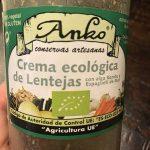 Crema ecológica de lentejas