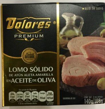 Dolores premium lomo solido de atún aleta amarilla en aceite de oliva