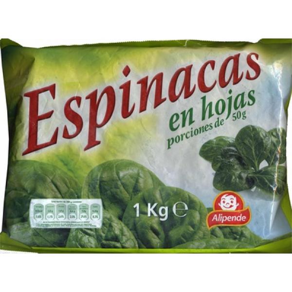 """Espinacas en hojas congeladas """"Alipende"""""""