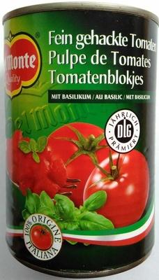 Fein gehackte Tomaten mit Basilikum