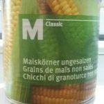 Grains de maïs non salés
