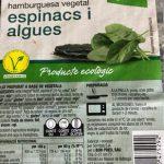 Hamburguesa vegetal espinacs i algues