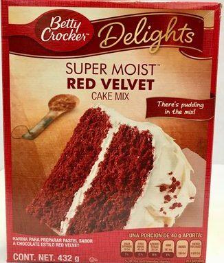 Harina para preparar pastel sabor a chocolate estilo red velvet