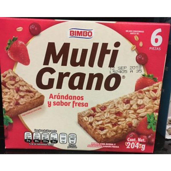 Multigrano arandanos y sabor fresa