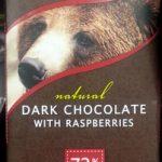 Natural dark chocolate with raspberries