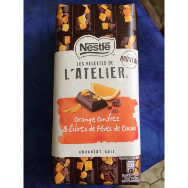 Orange confite & eclats de fèves de cacao