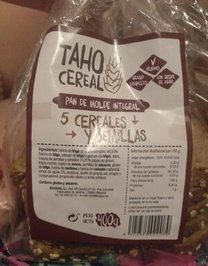 Pan de molde integral 5 cereales y semillas