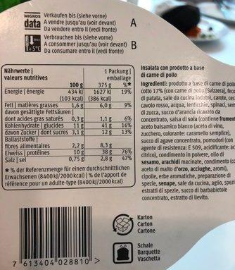 Salade poulet daily migros