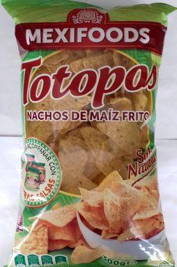 Totopos nachos de maíz fritos sabor natural sin gluten