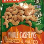 Whole cashews roasted and salted