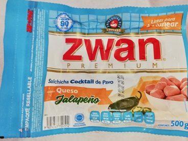 Zwan premium Salchicha Cocktail de pavo sabor queso jalapeño