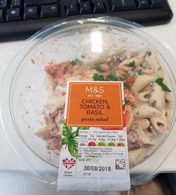 chicken tomato & basil - pasta salad