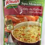 sopa Méxicana caldo de gallina con arroz