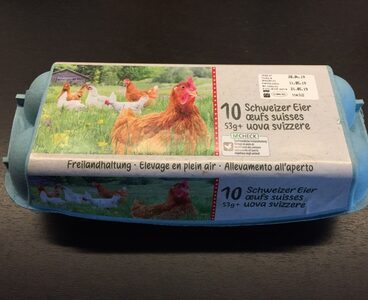 10 oeufs suisses 53g+ élevage en plein air